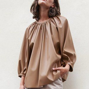 Camel Gathered Faux Leather Top Frankie SZ S